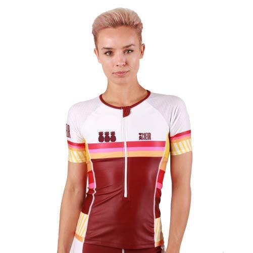 Coeur Sports Sleeved Triathlon Speed Jersey Pina Colada Women's Sleeved Triathlon Aero Top