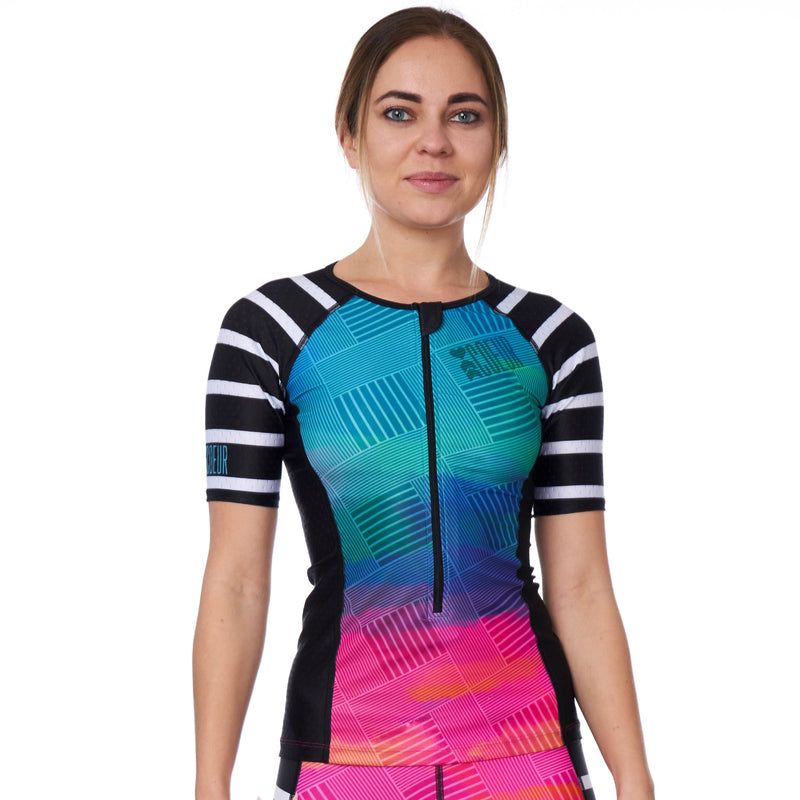 Coeur Sports Sleeved Triathlon Speed Jersey Sunset Strip Women's Sleeved Triathlon Aero Top
