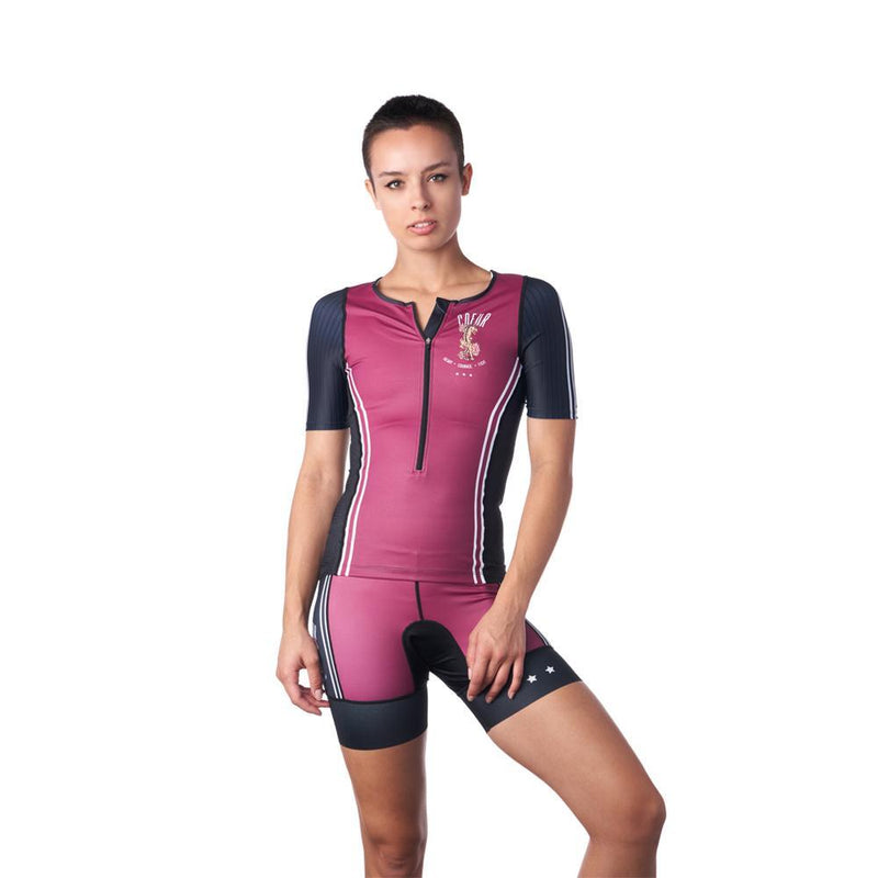 Picture of a female triathlete in a full outfit