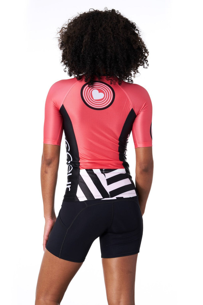 Coeur Sports Sleeved Triathlon Speed Jersey Women's Sleeved Triathlon Aero Top with 1/4 Zip in Courage 2018
