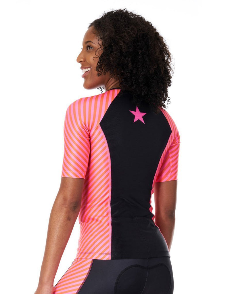 Coeur Sports Sleeved Triathlon Speed Jersey Women's Sleeved Triathlon Aero Top With 1/4  Zip in Lucky Star