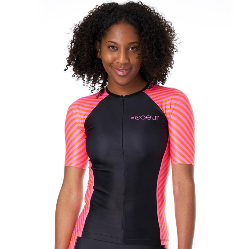Coeur Sports Sleeved Triathlon Speed Jersey x-small Lucky Star Women's Sleeved Triathlon Aero Top With 1/4  Zip