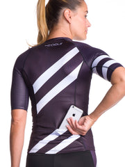 Coeur Sports Sleeved Triathlon Speed Jersey Zele Women's Aero Sleeved Triathlon Top - Black and White