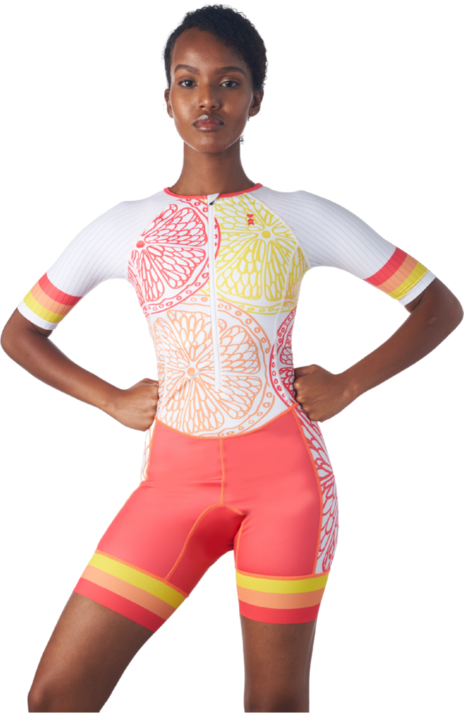 Triathlon Race Suit for women in a design called citrus