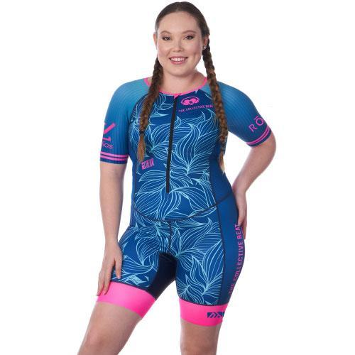 Coeur Sports Sleeved Triathlon Speedsuit Collective Beat 20 Women's Sleeved One Piece Triathlon Suit w/ Logos - Ships late December