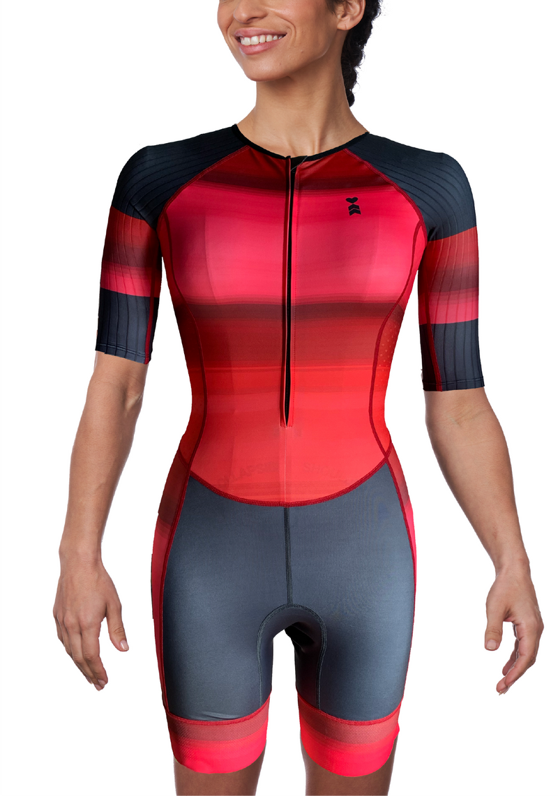 Coeur Sports Sleeved Triathlon Speedsuit Infrared Women's Sleeved One Piece Triathlon Suit