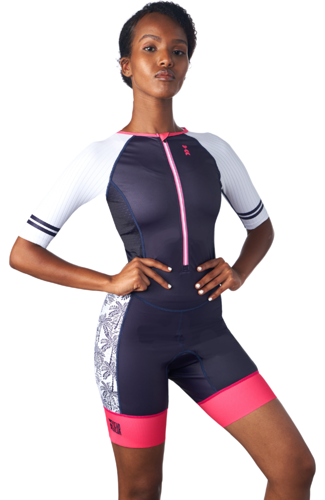 One Piece Triathlon Race Suit in a design called Palm Print