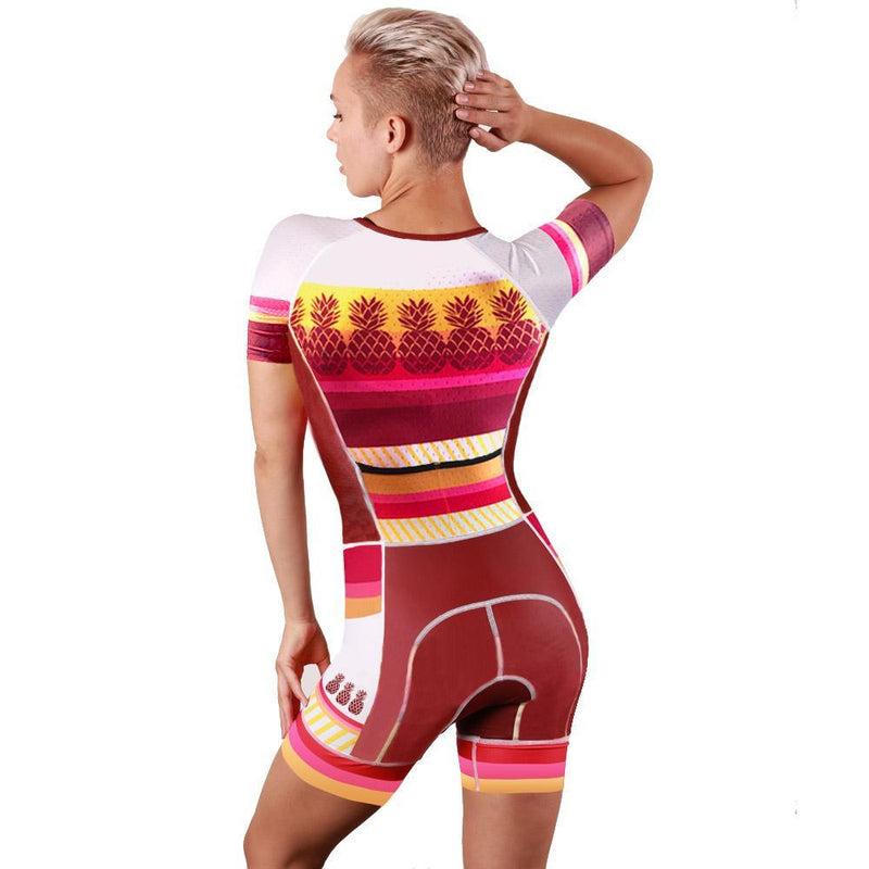 Coeur Sports Sleeved Triathlon Speedsuit Pina Colada Women's Sleeved One Piece Triathlon Suit