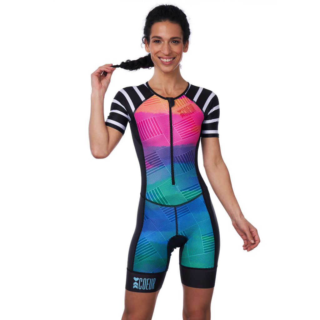Coeur Sports Sleeved Triathlon Speedsuit Sunset Strip Women's Sleeved One Piece Triathlon Suit