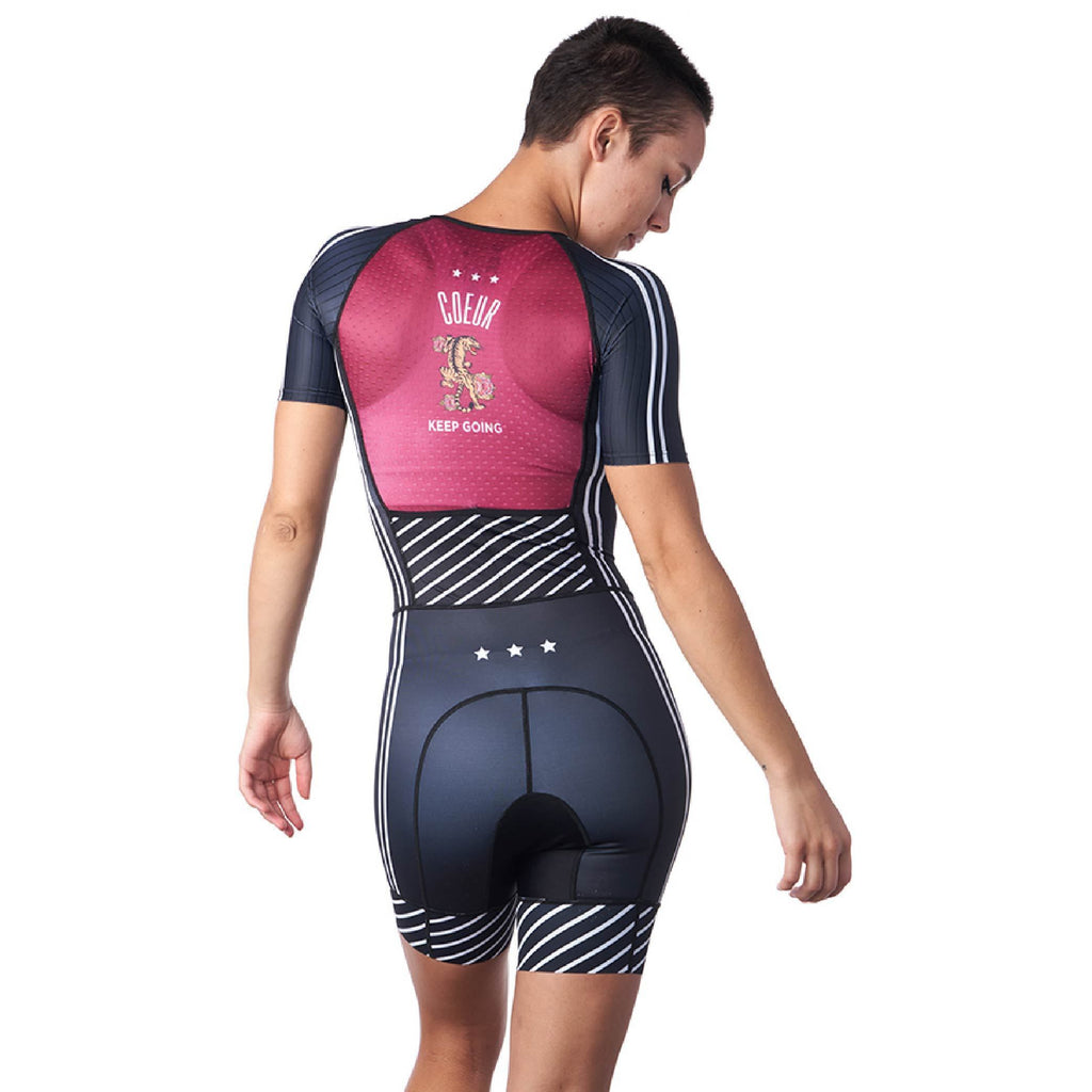 Back of one piece triathlon suit for woman