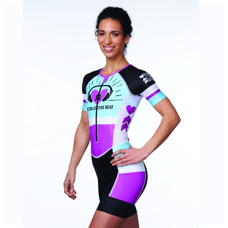 Coeur Sports Sleeved Triathlon Speedsuit XS / Blue/Purple PRESALE! Women's Sleeved One Piece Triathlon Suit in Collective Beat 19 - Late July 2019 Shipment