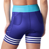 "Rear view of women's triathlon shorts with 5"" inseam in a design called 5:00 a.m."