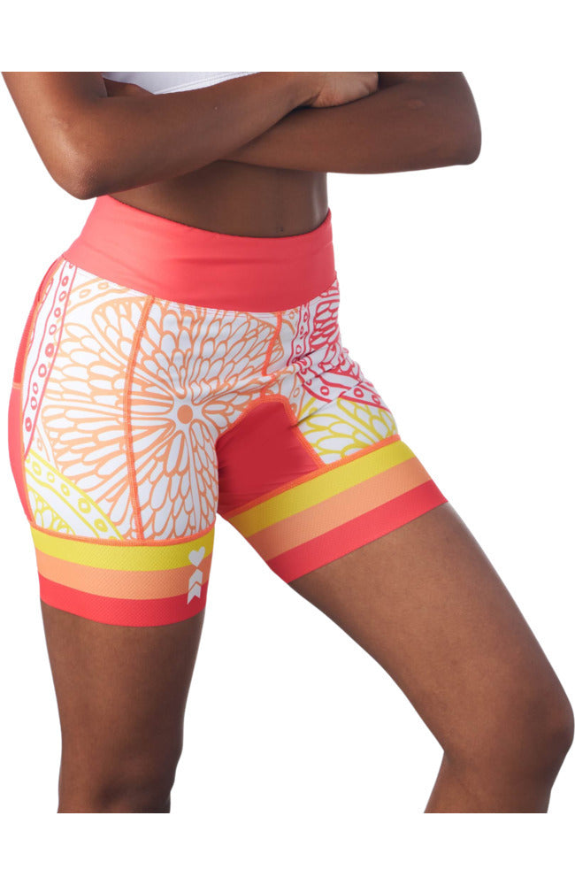 "Triathlon shorts for women with 5"" inseam in a design called citrus"