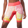 "Front view of women's triathlon shorts with 8"" inseam in a design called citrus"