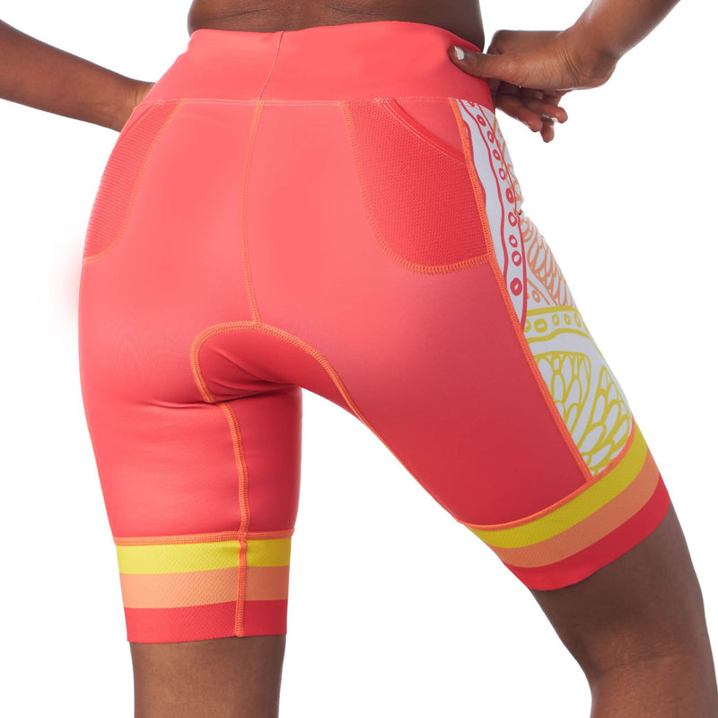 "Rear view of triathlon shorts with 8"" inseam in a design called citrus"