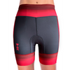 Rear view of red triathlon shorts for women