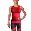Front of a woman wearing a triathlon outfit in a design called Infared