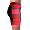 Side view of women's triathlon shorts in a design called infared