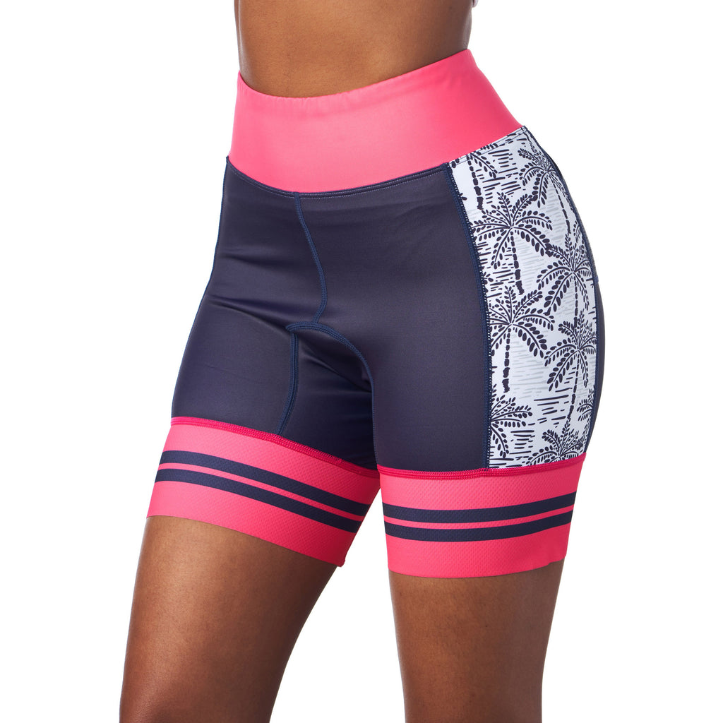 "Front of triathlon shorts with 5"" inseam in Palm Print design"
