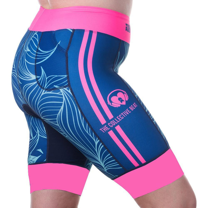 Coeur Sports Tri Shorts Presale! Women's 8 inch Triathlon Shorts in Collective Beat 20 - Ships late December 19
