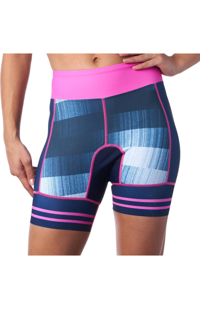 Blue Triathlon Shorts with five inch inseam