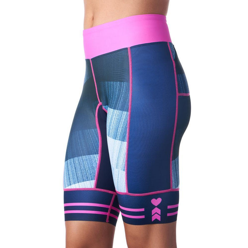 Side of blue triathlon shorts