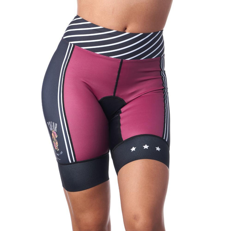 Gront view of burgundy and black triathlon shorts for women