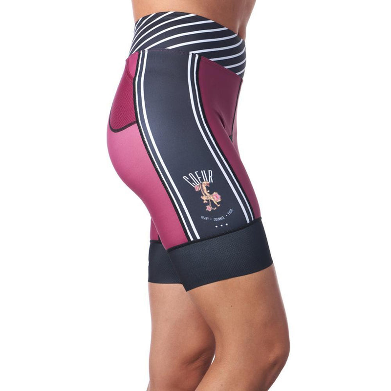 Side view of burgundy and black triathlon shorts