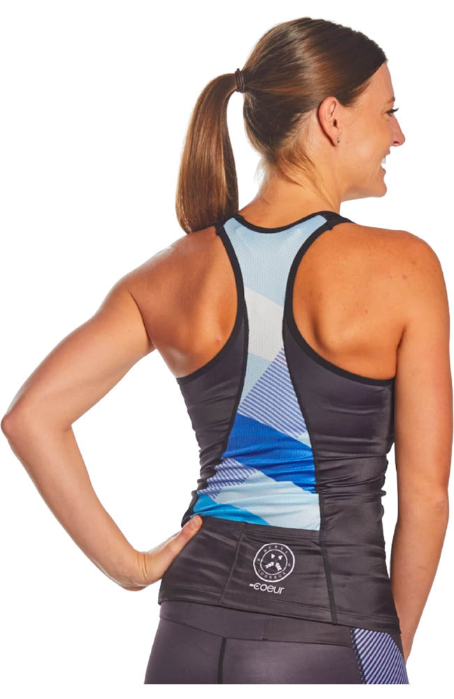 Coeur Sports Triathlon Tank Top Blue Note Women's Braless Triathlon Top