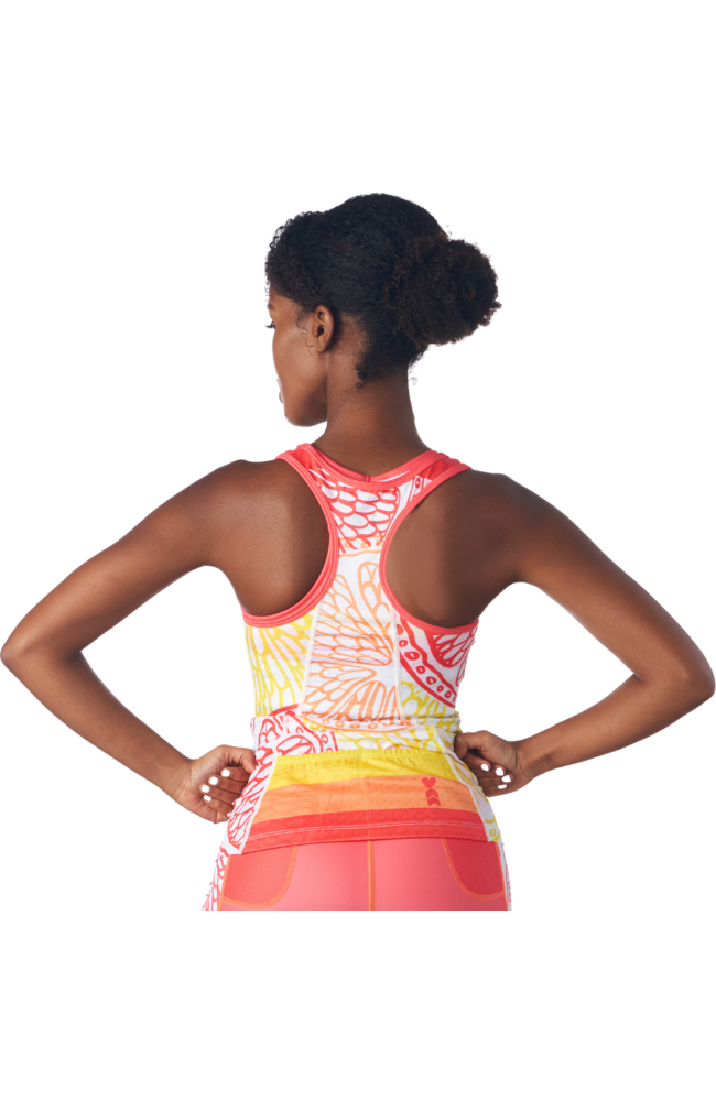 Triathlon tank without a shelf bra in a design called citrus