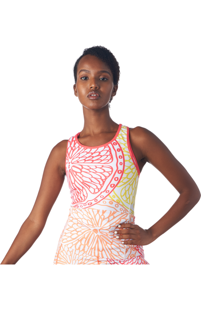 Front view of a triathlon tank without a shelf bra in a design called citrus