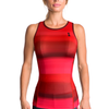 Triathlon tank without shelf bra in a design called Infared