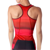Rear view of a red triathlon tank without a shelf bra