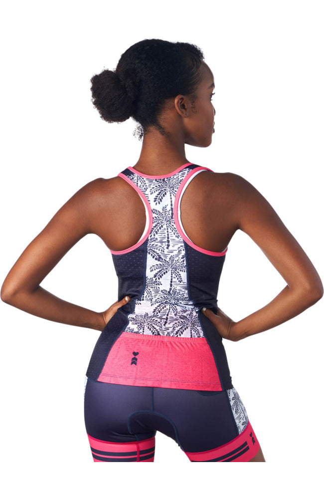 Rear view of a triathlon tank top without a shelf bra in a design called palm print