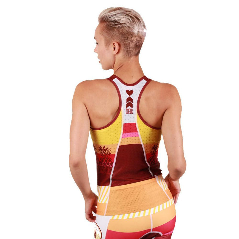Coeur Sports Triathlon Tank Top Pina Colada Women's Triathlon Tank with Shelf Bra