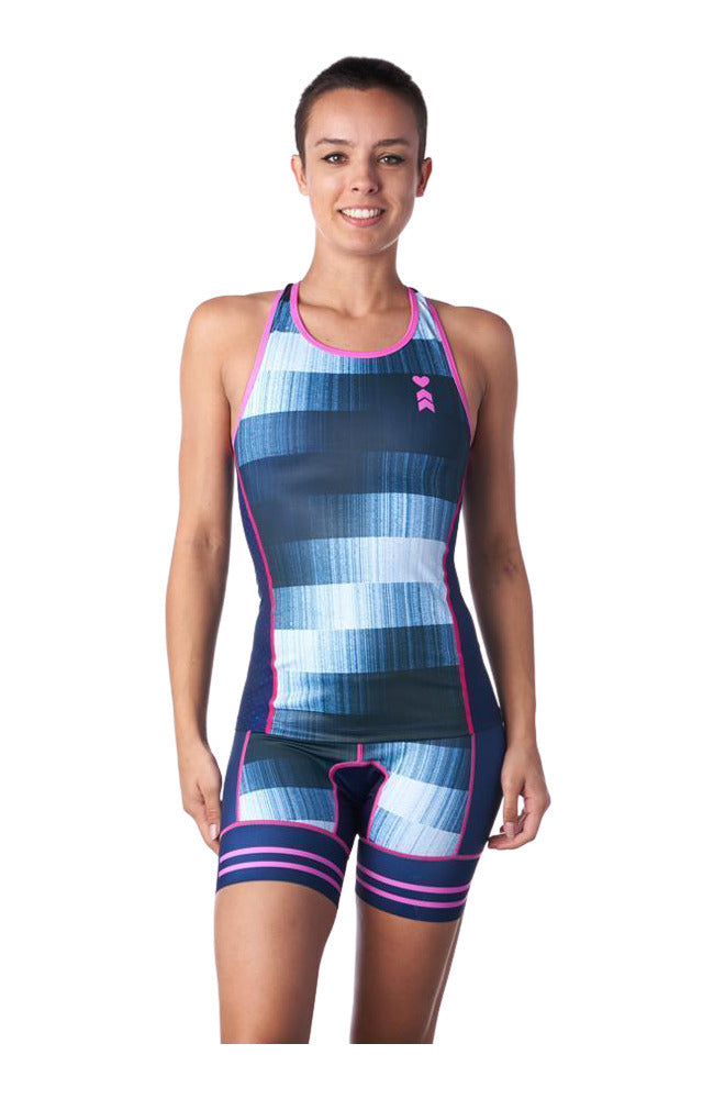 Blue braless triathlon tank top for women