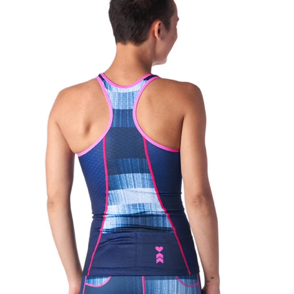 Back of Blue Braless Triathlon Tank Top