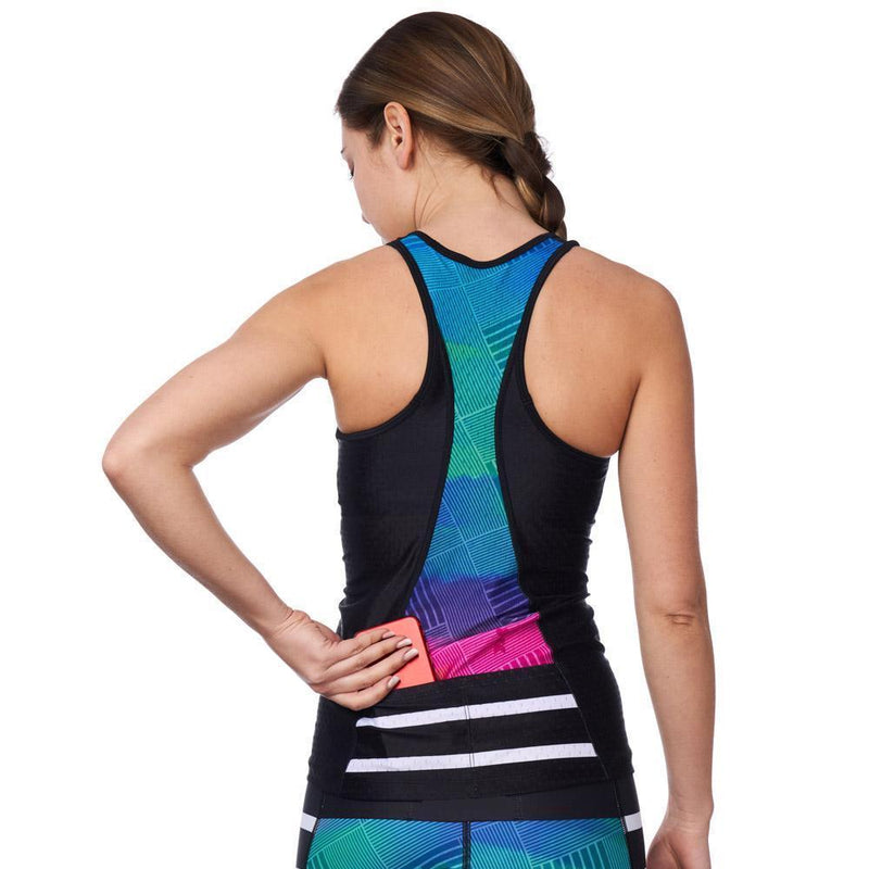 Coeur Sports Triathlon Tank Top Sunset Strip Women's Triathlon Tank with Shelf Bra