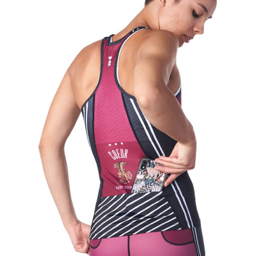 Coeur Sports Triathlon Tank Top Tigerlily Women's Triathlon Tank with Shelf Bra