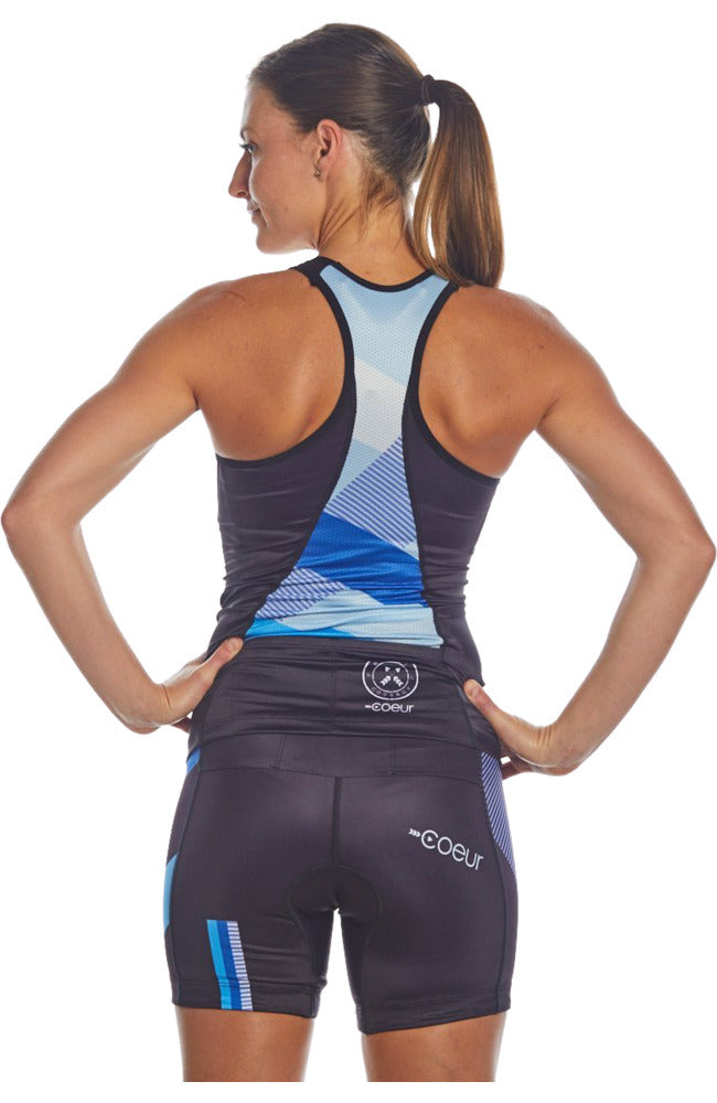 Coeur Sports Triathlon Tank Top Women's Triathlon Top in Blue Note Design