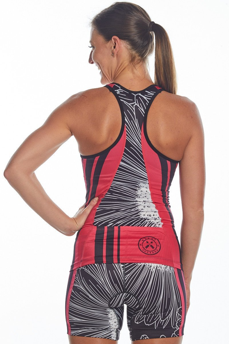 Coeur Sports Triathlon Tank Top Women's Triathlon Top in Electric Daisy Design