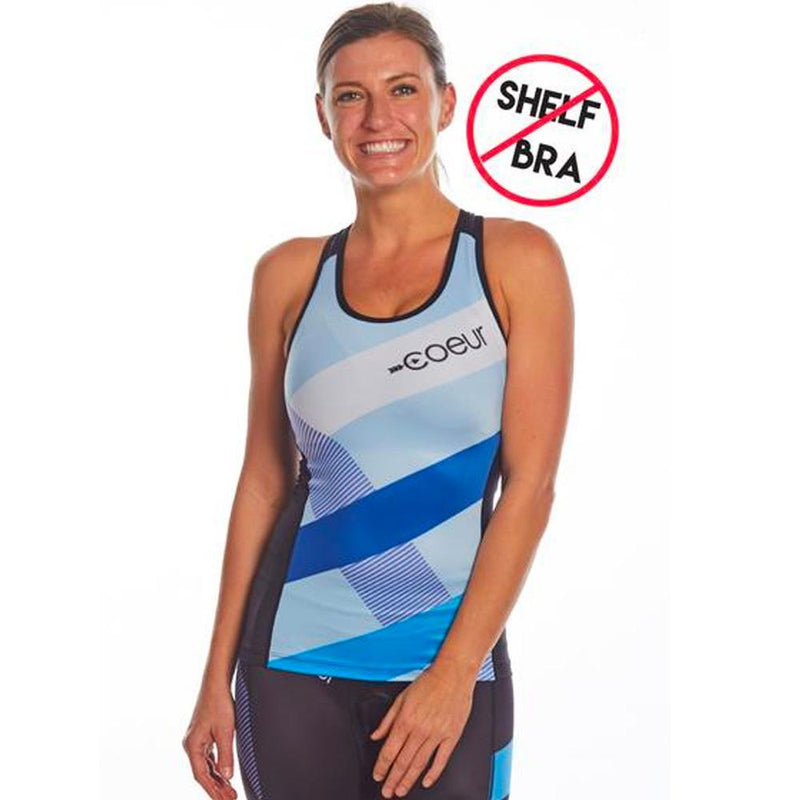 Coeur Sports Triathlon Tank Top XS / Blue Note Design Women's Braless Triathlon Top in Blue Note Design