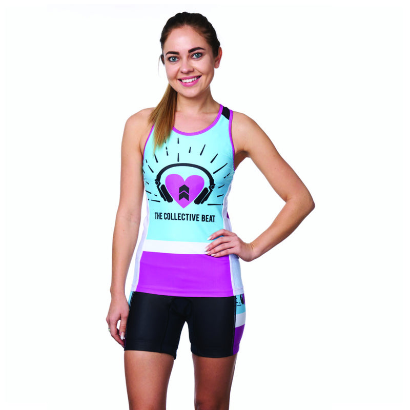 Coeur Sports Triathlon Tank Top XS / Blue/Purple PRESALE! Women's Braless Top in Collective Beat 19 - Late July 2019 Shipment