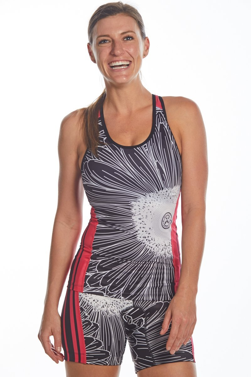 Coeur Sports Triathlon Tank Top XS Electric Daisy Women's Braless Triathlon Top