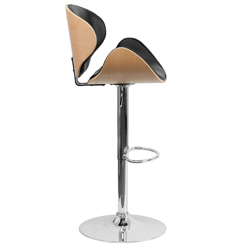 Attrayant ... Beech Bentwood Adjustable Height Barstool With Curved Black Vinyl Seat  And Back ...