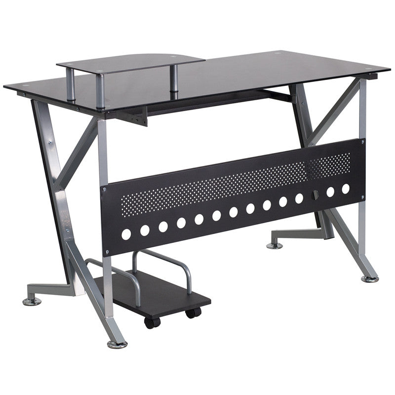 black tempered glass gamma product computer desk contemporary en workstation