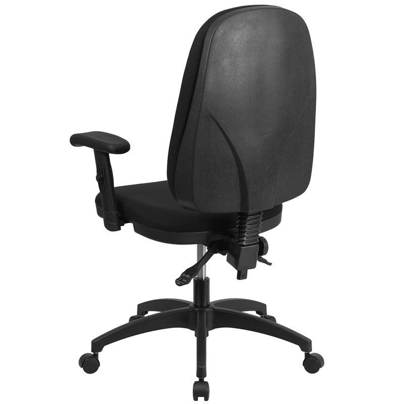 high back black fabric multi functional swivel task chair with height
