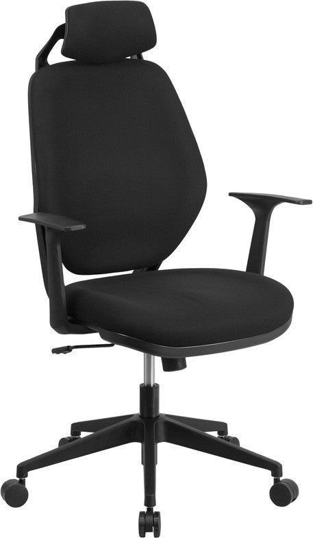 ... High Back Black Fabric Executive Swivel Office Chair With Height  Adjustable Headrest ...