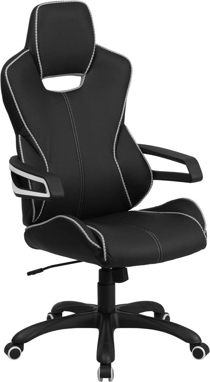 high back black vinyl executive swivel office chair with white trim