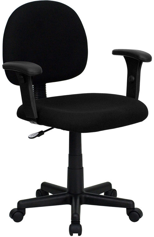 low back ergonomic fabric swivel task chair with height adjustable arms